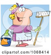 Clipart Friendly Caucasian Maid Royalty Free Vector Illustration