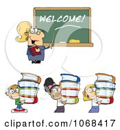 Clipart Female Teacher Welcoming Students Back To School Royalty Free Vector Illustration
