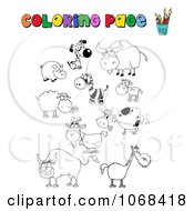 Clipart Coloring Page Animals Royalty Free Vector Illustration by Hit Toon