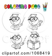 Clipart Coloring Page Professor Owls Royalty Free Vector Illustration