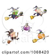 Clipart Halloween Witches Spiders And Pumpkins Royalty Free Vector Illustration by Hit Toon