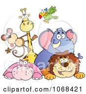 Clipart Group Of Zoo Animals Over A Sign 1 Royalty Free Vector Illustration