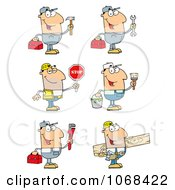 Clip art plumber carrying a tool box and hammer royalty free vector