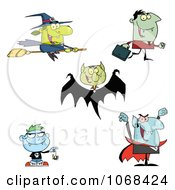 Clipart Halloween Witch Vampires And Zombies Royalty Free Vector Illustration by Hit Toon