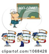Clipart Male Professor Welcoming Students Back To School Royalty Free Vector Illustration