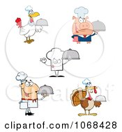 Clipart Pig Chef Hat Male And Turkey Cooks Royalty Free Vector Illustration