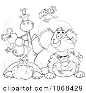 Clipart Outlined Zoo Animals Over A Sign 1 Royalty Free Vector Illustration by Hit Toon