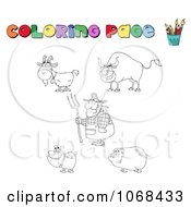Clipart Coloring Page Farmer And Animals Royalty Free Vector Illustration