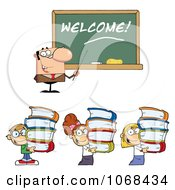 Clipart Male Teacher Welcoming Students Back To School Royalty Free Vector Illustration