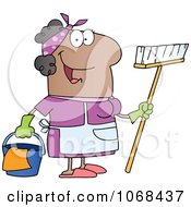 Clipart Friendly Black Female Maid Royalty Free Vector Illustration