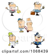 Clipart Saxophonist Businessman Delivery Man Scientist And Police Officer Royalty Free Vector Illustration