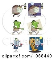 Clipart Hunchbacks Frankensteins And Vampires Royalty Free Vector Illustration by Hit Toon