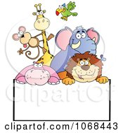 Clipart Group Of Zoo Animals Over A Sign 2 Royalty Free Vector Illustration