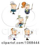 Clipart Teachers A Farmer And Doctors Royalty Free Vector Illustration