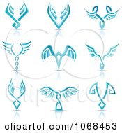 Clipart Blue Wing Logo Icons Royalty Free Vector Illustration by cidepix