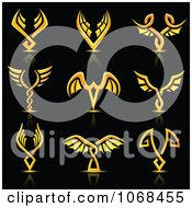 Clipart Golden Wing Logo Icons Royalty Free Vector Illustration by cidepix