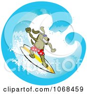Clipart Surfer Dog In A Wave Royalty Free Vector Illustration
