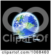 Clipart 3d Earth Floating And Reflecting On Water Royalty Free CGI Illustration