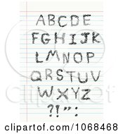 Clipart Capital Sketched Letters On Ruled Paper Royalty Free Vector Illustration