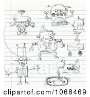 Clipart Robot Doodles On Ruled Paper Royalty Free Vector Illustration by yayayoyo