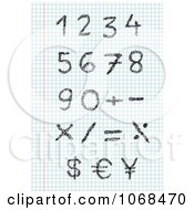 Clipart Sketched Numbers On Graph Paper Royalty Free Vector Illustration