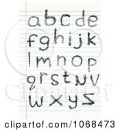 Clipart Lowercase Sketched Letters On Ruled Paper Royalty Free Vector Illustration