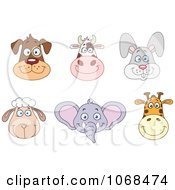 Clipart Dog Cow Rabbit Sheep Elephant And Giraffe Faces Royalty Free Vector Illustration by yayayoyo