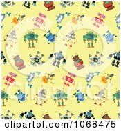 Clipart Seamless Robot Pattern Background Royalty Free Vector Illustration by yayayoyo