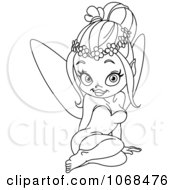 Clipart Outlined Sitting Fairy Royalty Free Vector Illustration by yayayoyo