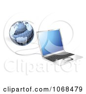 Clipart 3d Laptop And Globe Connected Royalty Free Vector Illustration