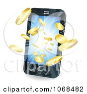 Clipart 3d Gold Coins Flying Out Of A Cell Phone Royalty Free Vector Illustration