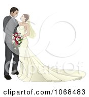 Clipart Bride And Groom Leaning In For A Kiss Royalty Free Vector Illustration
