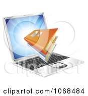 Clipart 3d Books Emerging From A Laptop Royalty Free Vector Illustration