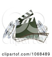 Clipart 3d Film Reels And A Clapper Board Royalty Free Vector Illustration