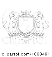 Clipart Outlined Cat Coat Of Arms Shield Royalty Free Vector Illustration