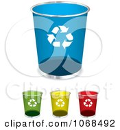 Clipart 3d Round Recycle Bins Royalty Free Vector Illustration