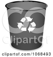 Clipart 3d Round Black Recycle Bin Royalty Free Vector Illustration