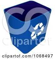 Clipart 3d Blue Recycle Bin Royalty Free Vector Illustration
