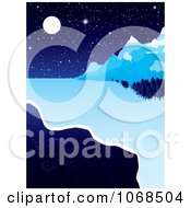 Clipart Icy River And Night Background Royalty Free Vector Illustration