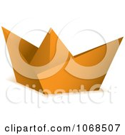 Clipart 3d Orange Origami Paper Boat Royalty Free Vector Illustration by michaeltravers