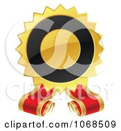 Clipart 3d Black And Gold Label With Ribbons Royalty Free Vector Illustration by vectorace