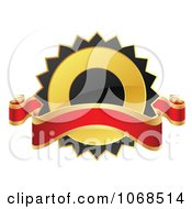 Clipart 3d Black And Gold Label With A Banner Royalty Free Vector Illustration by vectorace