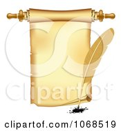 Clipart 3d Vintage Scroll And Quill Pen Royalty Free Vector Illustration