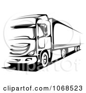 Clipart Black And White Big Rig Truck 1 Royalty Free Vector Illustration