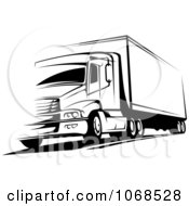 Clipart Black And White Big Rig Truck 2 Royalty Free Vector Illustration