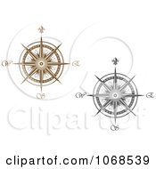 Clipart Silver And Gold Compasses Royalty Free Vector Illustration
