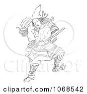 Outlined Samural Warrior And Katana Sword
