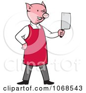 Clipart Butcher Pig Holding A Cleaver Royalty Free Vector Illustration