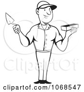Clipart Outlined Mason Holding A Trowel And Brick Royalty Free Vector Illustration by patrimonio