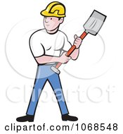 Construction Worker Holding A Spade